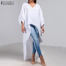 2020 Fashion Zanzea Vrouwen Shirt Dames Casual V-hals Lantaarn Mouw Blouse Hoge Lage Tops Solid Katoen Linnen Blusas Plus Size 5XL(China)