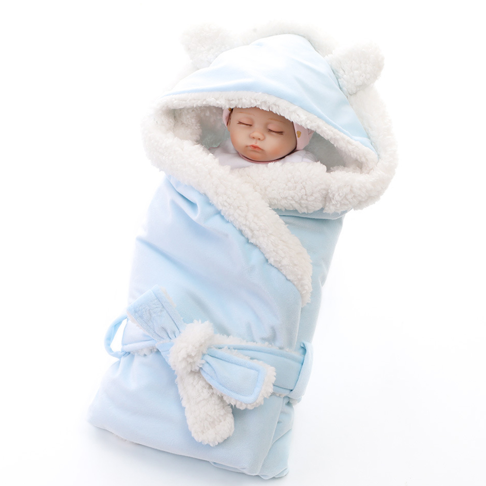 Unisex Cute Soft Baby Swaddle Hooded Plush Newborn Envelope Stroller Cover Infant Warm Sleeping Bag Sack Wrap Blanket Universal