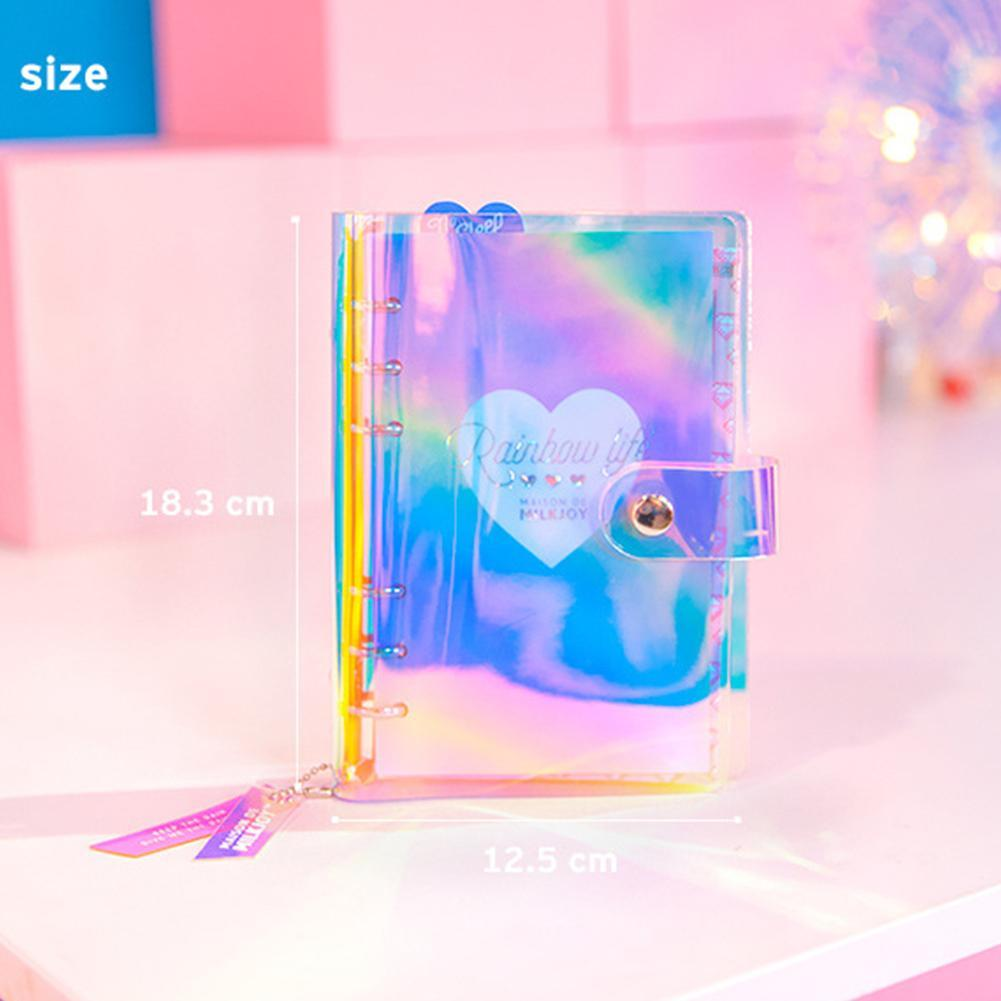 A6 Spiral Notebook Planner Organizer Dividers Agenda Weekly Personal Travel Diary Journal Laser Transparent Rainbow Note Books