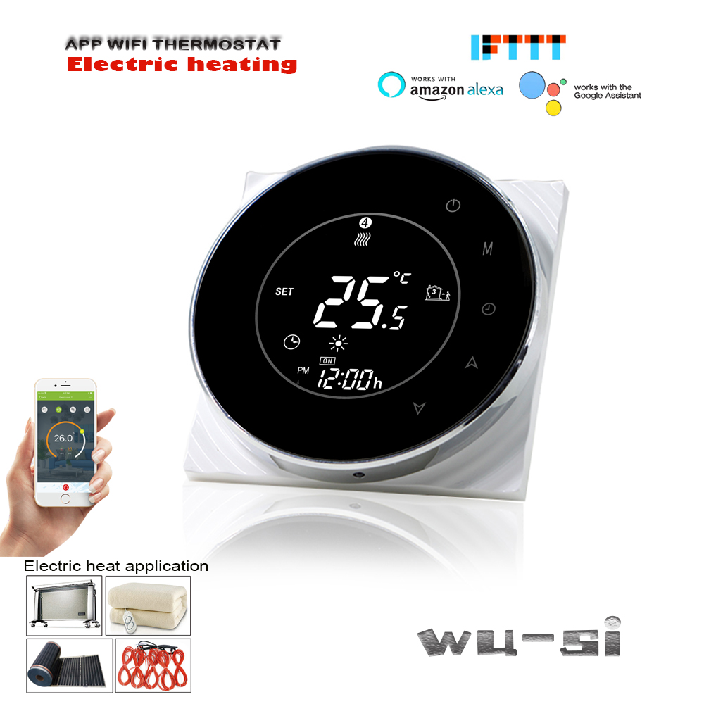 16A WIFI Electric Heating Thermostat  For Alexa Google Home,with Internal And External Dual Sensors
