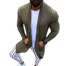 HEFLASHOR кардиган мужской с длинным рукавом полосатый свитер миди пальто с карманом Зима Осень повседневные прочные кардиганы Pull Homme Hiver