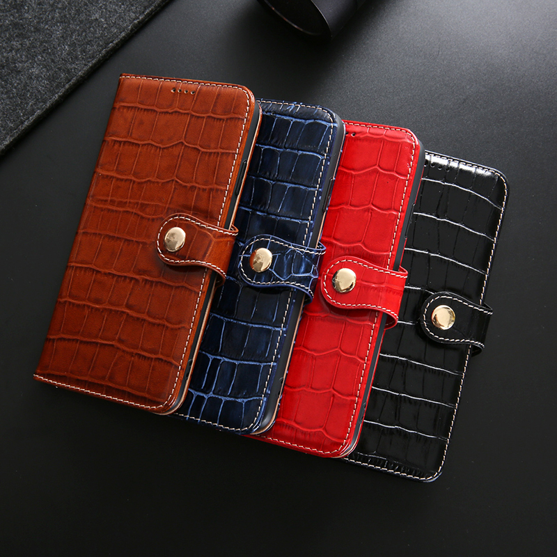 Flip Book Card Slot Genuine Leather Phone Case For iPhone 11 Pro Max X Xr Xs 7 8 Plus Luxury Crocodile Grain Stand Wallet Cover