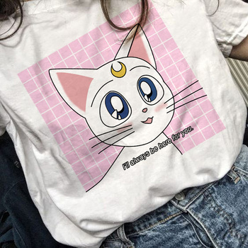 Sailor Moon 90s funny T Shirt Harajuku clothes Tshirt Aesthetic cat Anime Women Cute Female T-shirt Kawaii Tees Fashion Ullzang