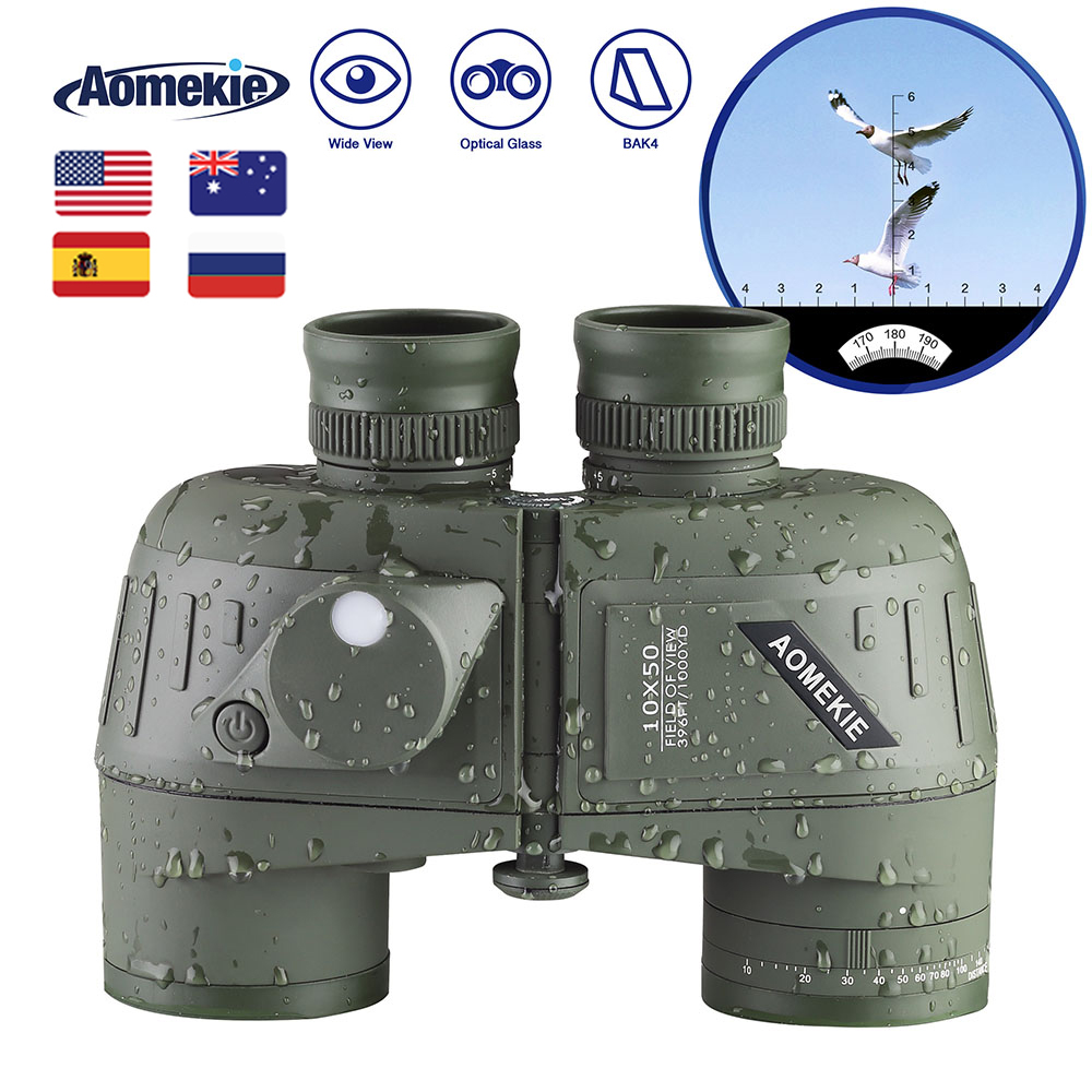 <font><b>10X50</b></font> High Power <font><b>Binoculars</b></font> with <font><b>Rangefinder</b></font> Compass for Hunting Boating Bird Watching Nitrogen Floating Waterproof image