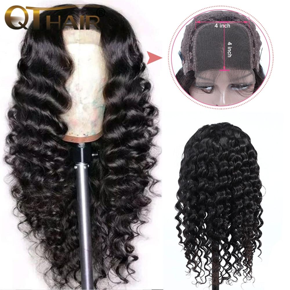 H977136f9ec754fa2bcad612e1cd4b896f QT 4*4 Lace Closure Human Hair Wigs Brazilian Loose Deep Wave for Black Women Pre-Plucked Lace Closure Human Hair Wig