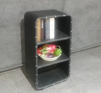 3 Shelf Bedroom Nightstand Open Bookcase,Industrial Furniture Metal Storage Locker,3 Tier Shelf Organizer,Small Cabinet,Black
