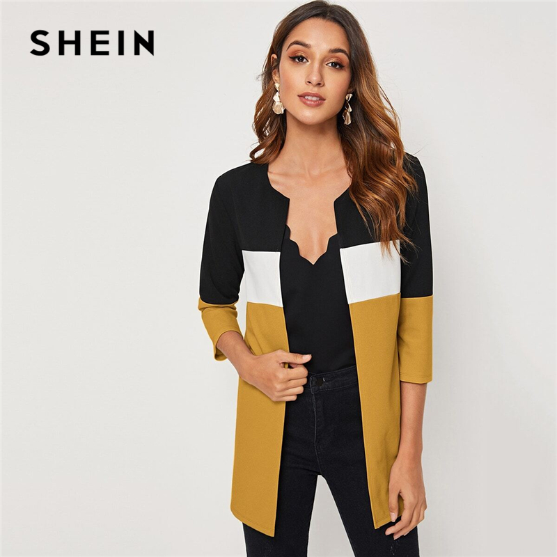 SHEIN Colorblock Round Neck Cut And Sew Open Front Basic Coat Women 2019 Autumn 3 4 SHEIN Colorblock Round Neck Cut And Sew Open Front Basic Coat Women 2019 Autumn 3/4 Length Sleeve Ladies Casual Outwear Coats