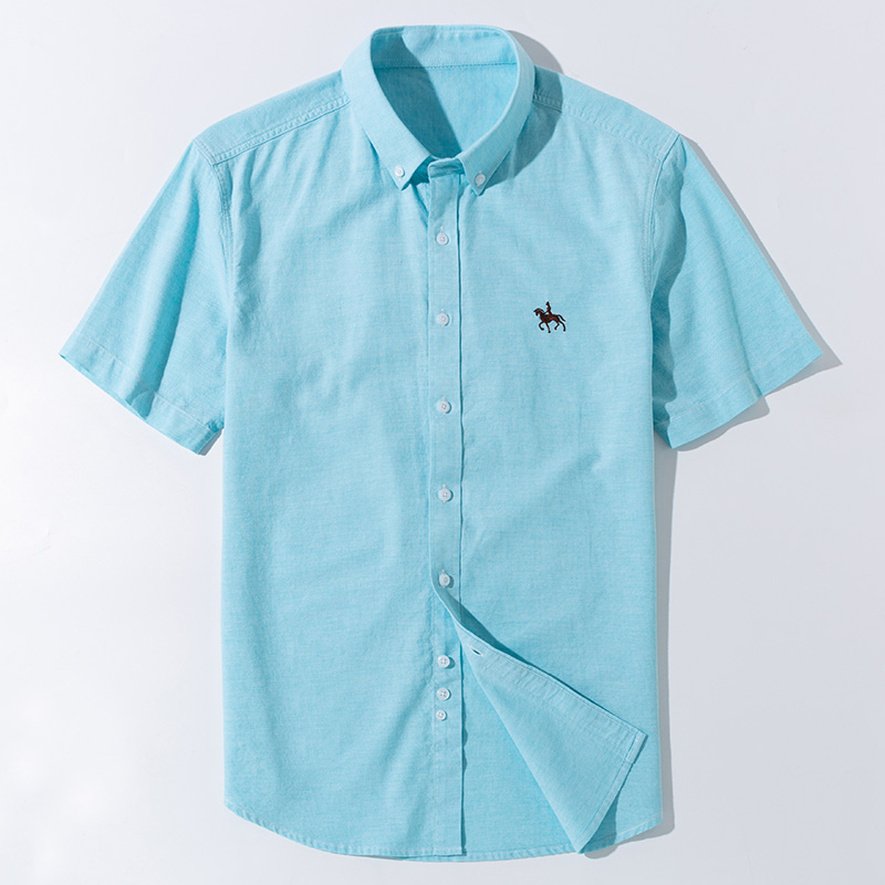 New S to 6xl short sleeve 100% cotton oxford soft comfortable regular fit plus size quality summer business men casual shirts 6