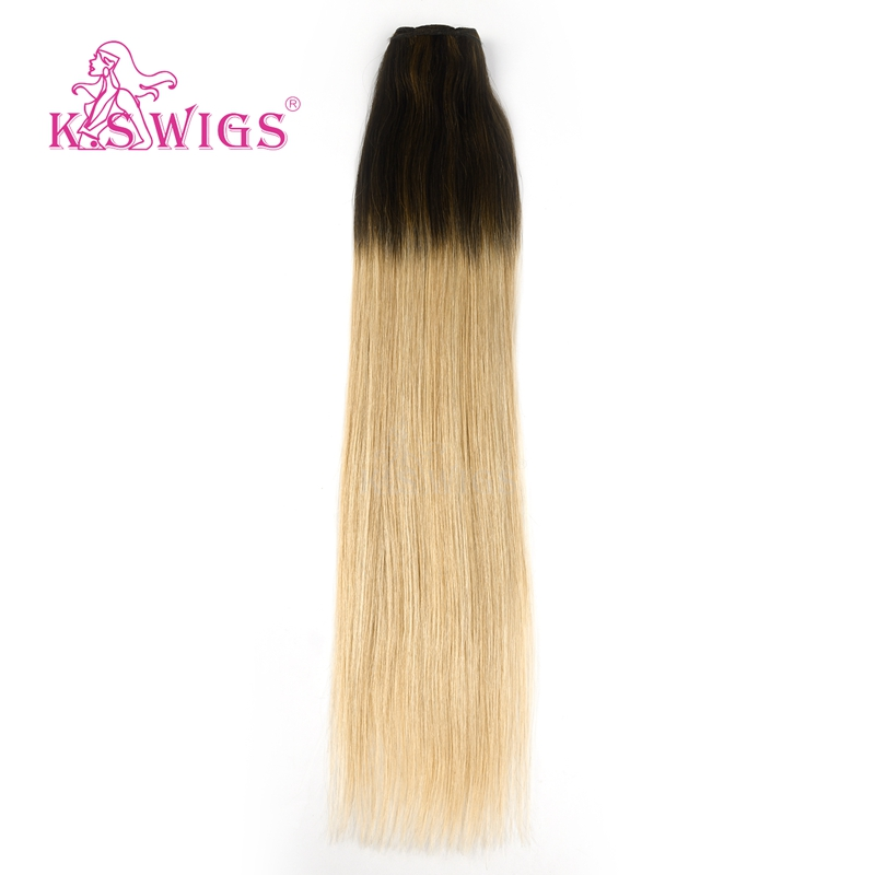 K.S WIGS 22'' Remy Human Hair Weft Straight Vanilla & Caviar Balayage Color Double Drawn Human Hair Weave Bundles 100g/pc