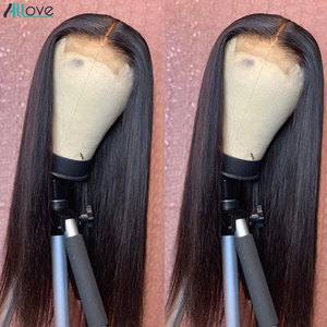 Image 2 - Allove 4x4 Lace Closure Wig Straight Human Hair Wigs For Black Women 150% Brazilian Lace Front Human Hair Wigs Pre Plucked