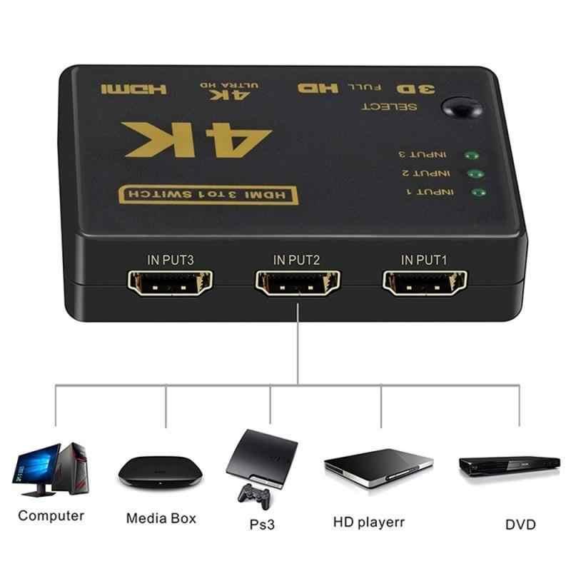 Conmutador HDMI 3 en 1 salida 4K * 2K 1080P Selector de interruptor divisor caja de conmutador Ultra HD para HDTV Xbox PS3 PS4 Multimedia gran oferta