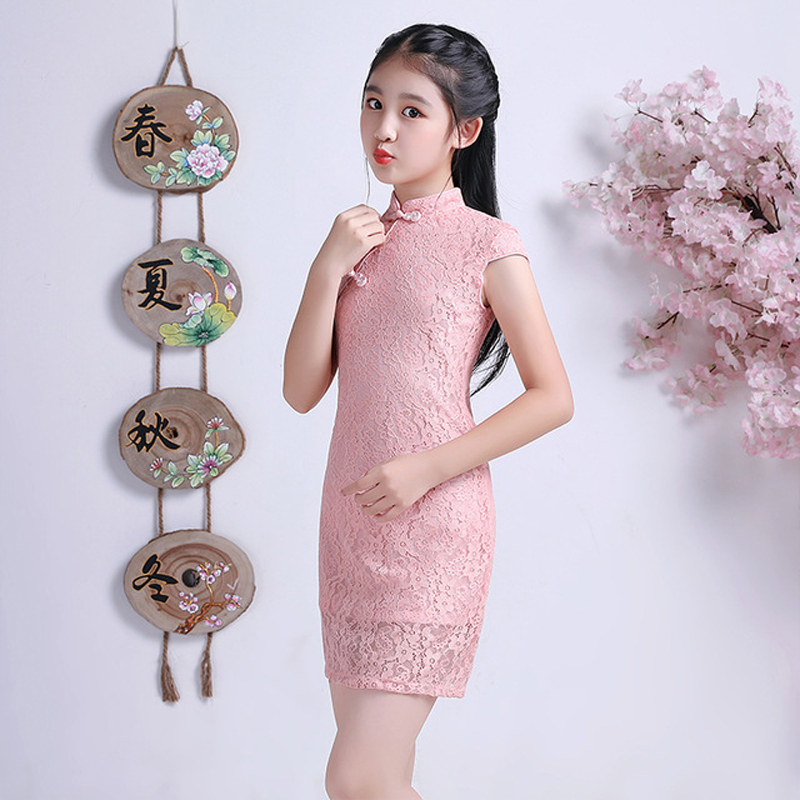 Lovely Girls Summer Short Sleeve Lace Cheongsam Dress Cute Princess Girls Embroidery Dresses Kids Party Evening Wedding Dress