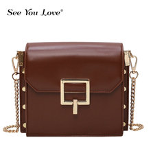 цена на Vintage Leather Quality Crossbody Bags For Women 2019 New Small Rivets Shoulder Messenger Bag Lady Solid Color Luxury Handbags