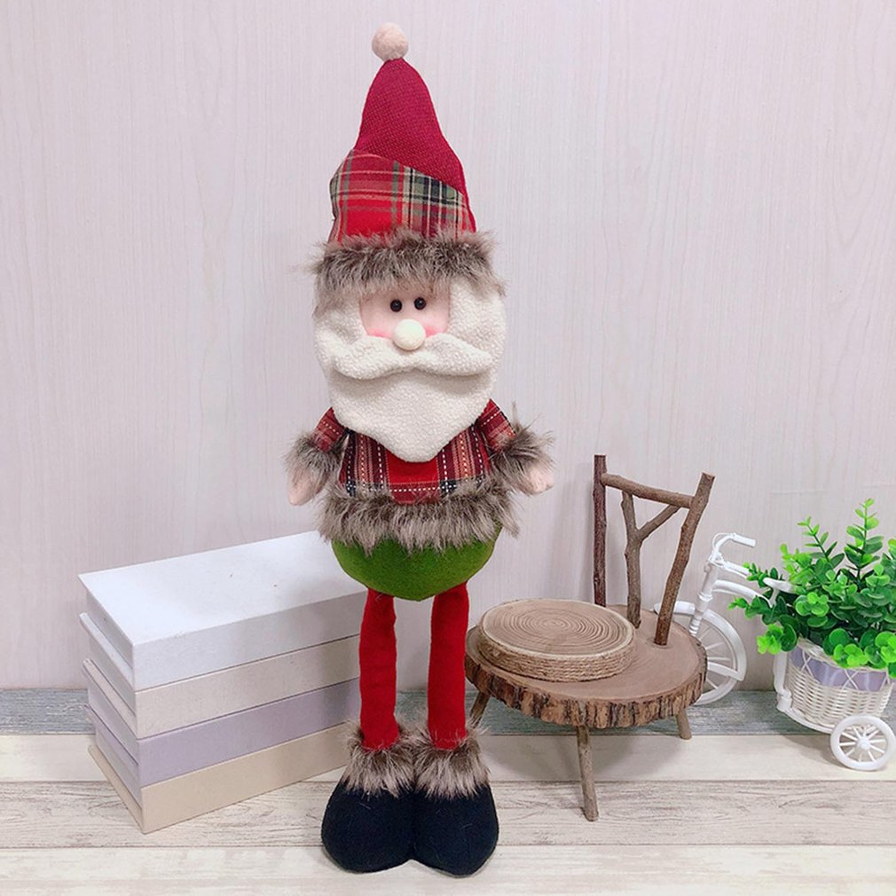 Telescopic Santa Claus Snowman Reindeer Doll Toy Standing Figurine Christmas Tree Ornaments New Year Kids Gift Desk Decoration