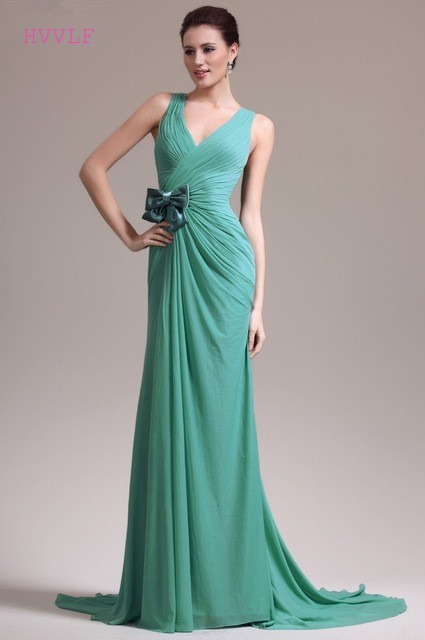 Mint Green Evening Dresses 2019 Mermaid V-neck Chiffon Bow Backless Long Dubai Saudi Arabic Evening Gown Prom Dresses