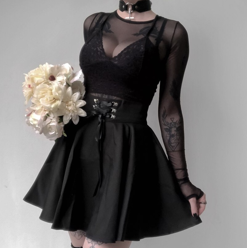 InsGoth High Waist Pleated Mini Skirts Women Gothic Punk Black Lace Up Skirt Casual Streetwear Solid Feminina A-line Party Skirt