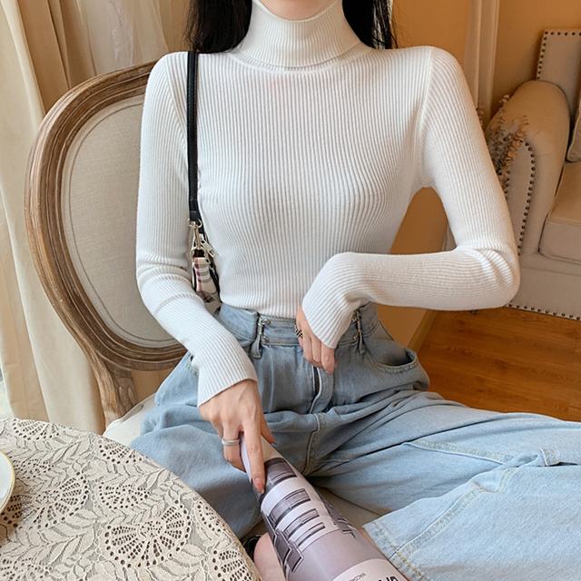 55% OFF 2021 Spring Summer long sleeve Knitted foldover Turtleneck Ribbed Pull Sweater Soft Warm Femme Jumper Pullover Clothes 4