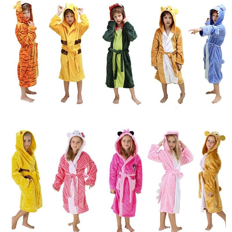 Winter Warm Flannel Bathrobe Kids Knee-Length Bath Robe Soft Thick Dinosaur Bridesmaid Robes Girls Dressing Gown Sleepwear