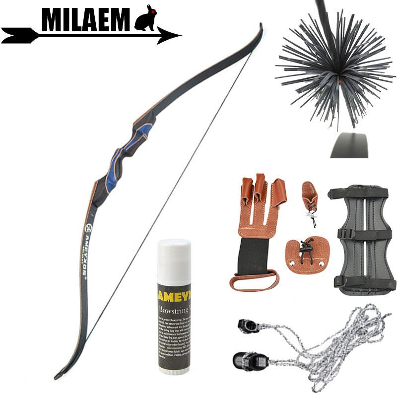 56 дюймов 20 50lbs стрельба из лука Рекурсивный лук набор палец и рука защита струны Воск стабилизатор Защитное снаряжение стрельба принадлежности для охоты