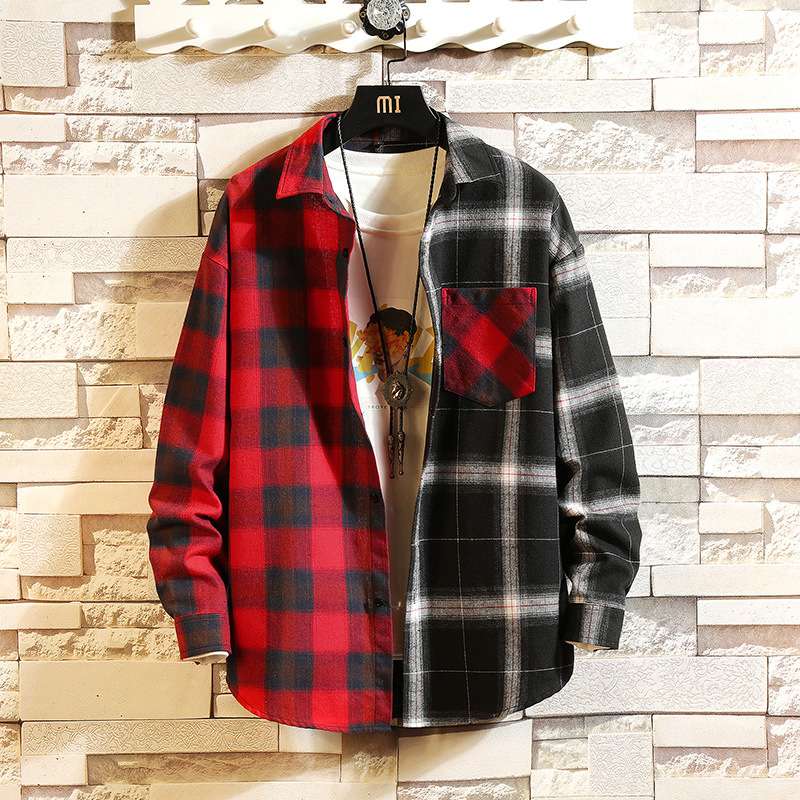 2019 Spring And Autumn New Style Youth Korean-style Slim Fit Two-color Joint Long Sleeve Plaid Shirt Men's Shirt