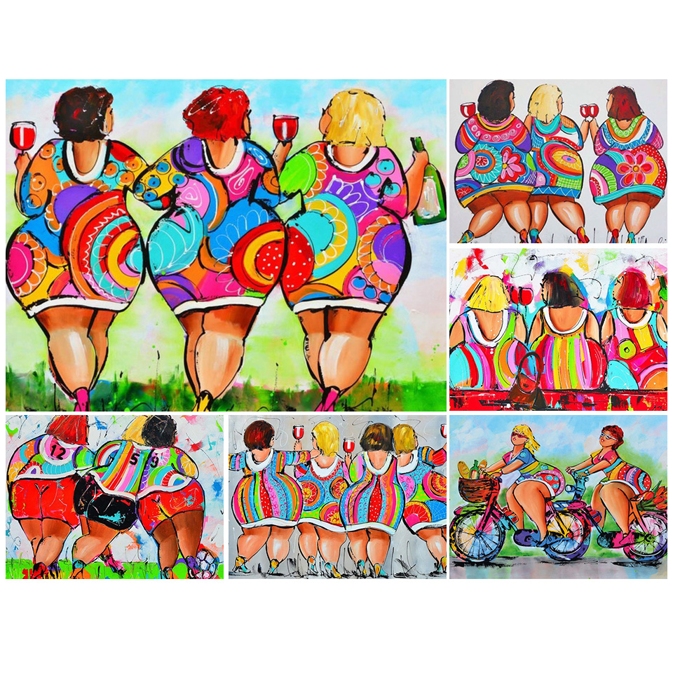 <font><b>5D</b></font> DIY <font><b>Diamond</b></font> <font><b>Painting</b></font> Full Square Cartoon <font><b>Sexy</b></font> Women Fat Ladies Cross Stitch Embroidery <font><b>Diamond</b></font> Mosaic Picture of Rhinestones image