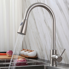 Practical Pull-out Faucets Stainless Steel Kitchen Single Hole Sink Tap Rotatable Single Handle Faucet Taps Kitchen Fixture