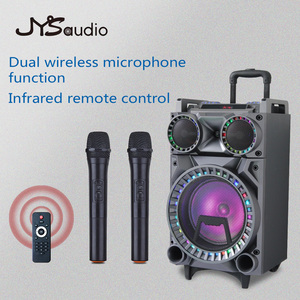 Outdoor Professional Audio Trolley Speaker Portable Rod Bluetooth Speaker with Rechargeable Battery with One Wireless Mic(China)