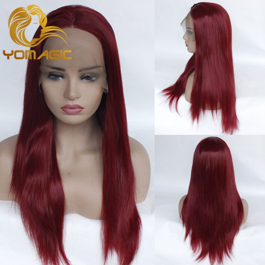 Yomagic Hair Burgundy Color Synthetic Wigs With Natural Hairline Silk Straight Affordable Glueless Lace Wig Heat Resistant Fiber