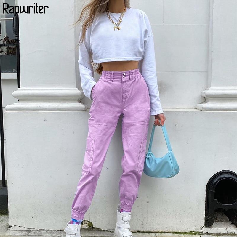 Rapwriter Streetwear Solid Joggers Womens Purple Cargo Pants Women High Waist Pants Fitness Pocket harajuku Capris Baggy Summer