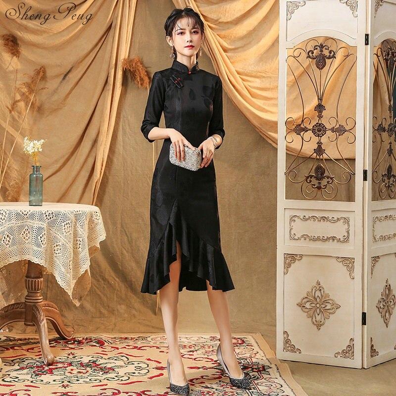 2019, современный чонсам, женское короткое Кружевное платье, китайское платье, Qi Pao, вечерние, винтажное, Ao Dai, элегантное платье, высокое качест