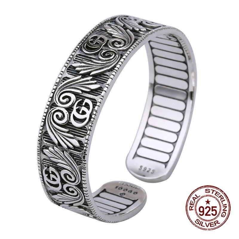 S925 bracelet en argent sterling personnalité de la mode lettres sauvages et généreuses tempérament de fleur bijoux simples version large de la forme pour envoyer un cadeau d'amour
