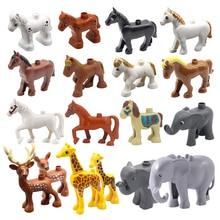 Большой размер здание блоки дупло животные ферма лошадь слон свинья жираф корова овца аксессуары модель игрушки для детей подарки