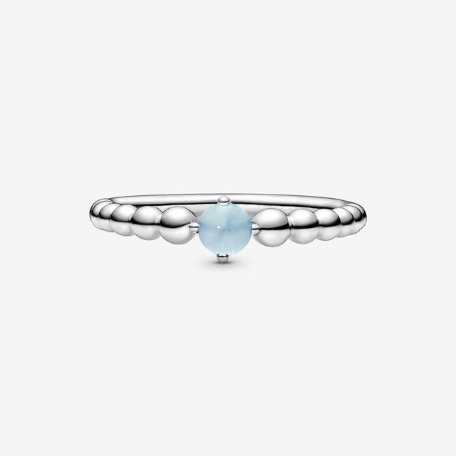 2020 HOT 100% 925 Sterling Silver  December Birthstone Beaded Ring Sterling Silver Jewelry Women Birthday Gift