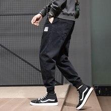 Fashion Streetwear Men Jeans Black Color Loose Fit Slack Bottom Harem Denim Cargo Pants Japanese Vintage Hip Hop