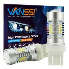 VANSSI 2 шт. светодиодный 20 W21/5 Вт 7443 Светодиодная лампа для LADA Vesta Granta Kalina передние DRL DHO светильник 7443 SRCK светодиодный ная автомобильная лампа бе...