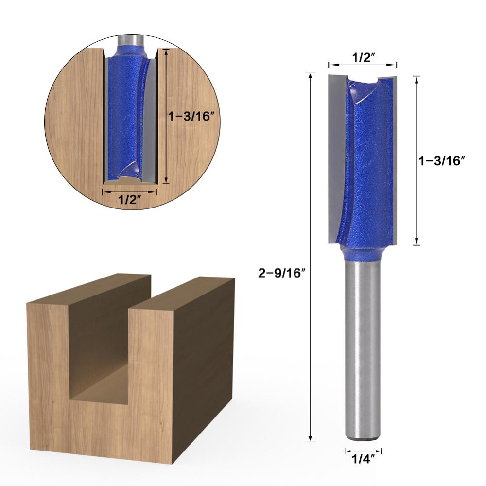 """1//2/"""" Single Flute Tipped Straight Router Carbide Bits Milling Cutter1//2*3//4"""