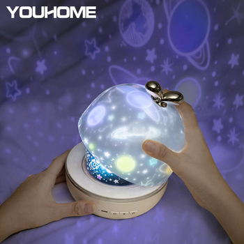 Lámpara de proyección giratoria LED de 3 colores cielo estrellado Luz de proyección romántica seis diapositivas elección lámpara de noche para regalo para niños decoración del hogar