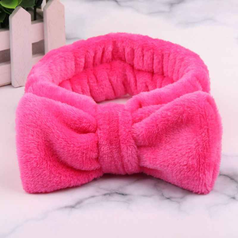 Neue Nette OMG Samt Stirnband Waschen Gesicht Elastische Haar Bands Korallen Fleece Bogen Mädchen Make-Up Weichen Stirnband Haar Haar zubehör 2019