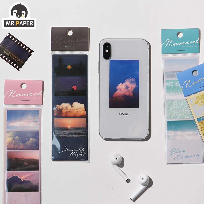 Mr.paper 4 Designs 3Pcs Fantasy Views Sunset Ins Series Back Sticker Scrapbooking Planner Japanese Decorative Stationery Sticker