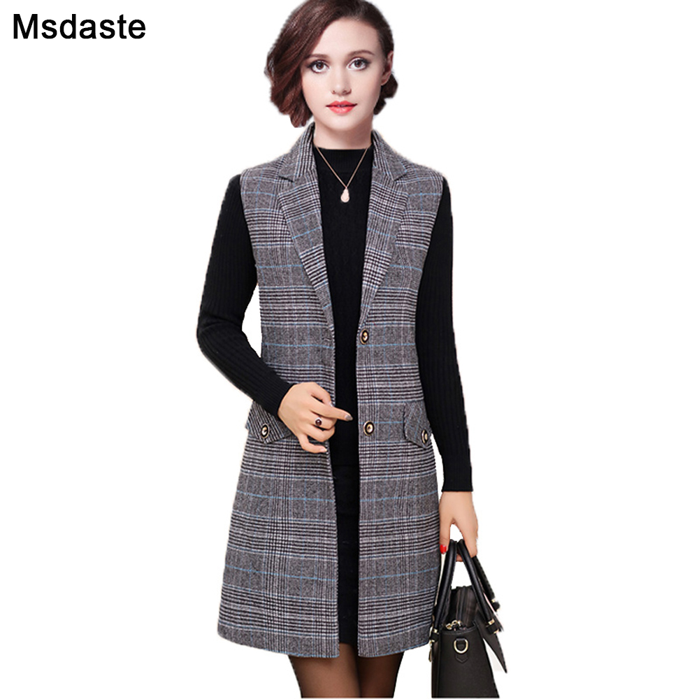 Long Vest Blazers Femme 2019 Winter Spring Single Breasted Vintage Plaid Jackets Blaser Casaco Jaqueta Feminina Chaqueta Mujer