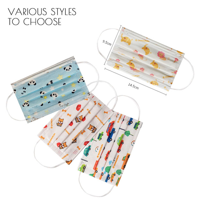 Children's Disposable Face Mouth Mask Cotton Cute Child Breathable 3 Layer Dust PM2.5 Kids Protective Mask  Fast Shop Earloop 3