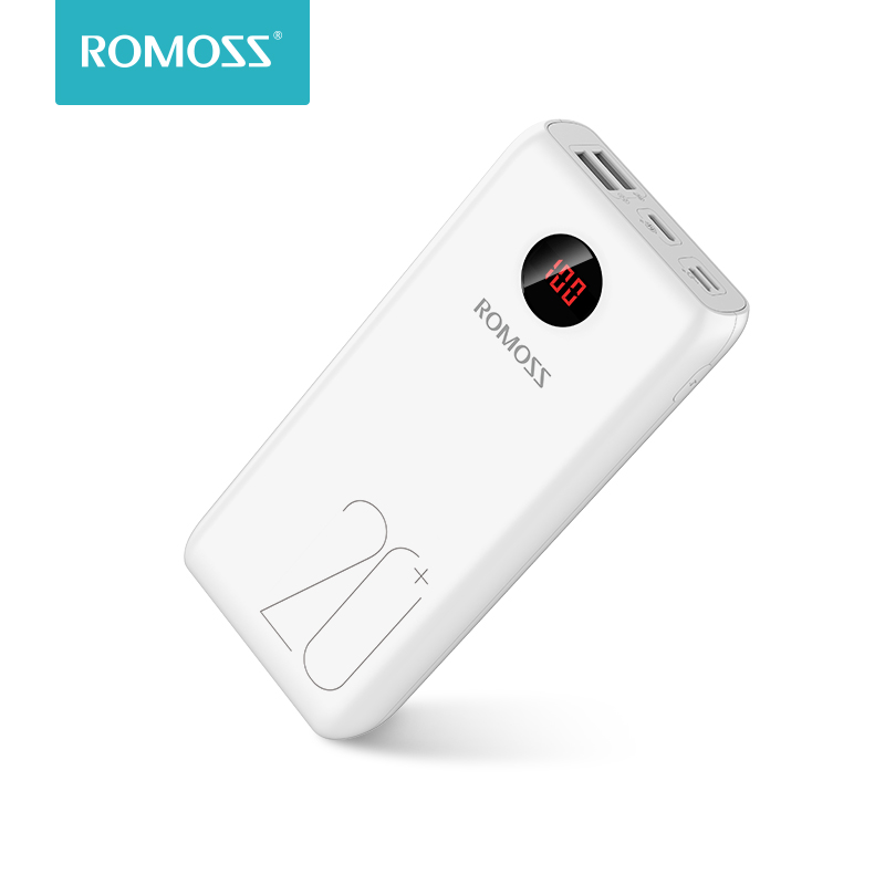 ROMOSS 20000mAh Power Bank 18W Fast Charge Powerbank Type C Poverbank Portable External Battery Charger For Xiaomi Mi IPhone