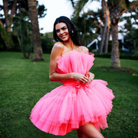 Women Multi Layer Mesh Tulle Mini Dresses Pink Strapless Tutu Pleated Dress Party Wedding Dinner Dating Night Femme Vestito