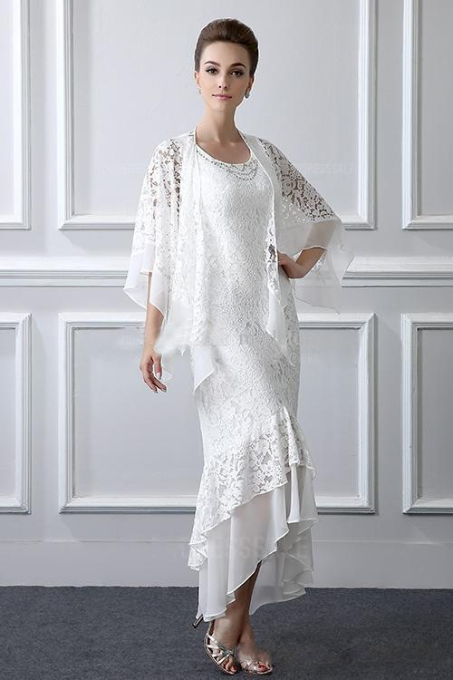 Linglewei New Spring and Summer Women's Dress New lace Cape irregular dress fake two long dress