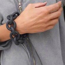Yd & ydbz multi cor charme pulseiras para mulheres estilo punk grosso link plano pulseira de borracha colorido celebridade jóias