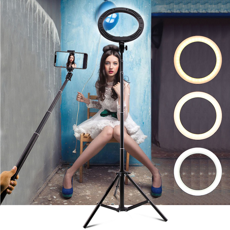 Photography Selfie Stick Ring Light 26cm 10inch LED Makeup Ring Lamp   Phone Holder USB plug for Live Stream Youtube Videoinch