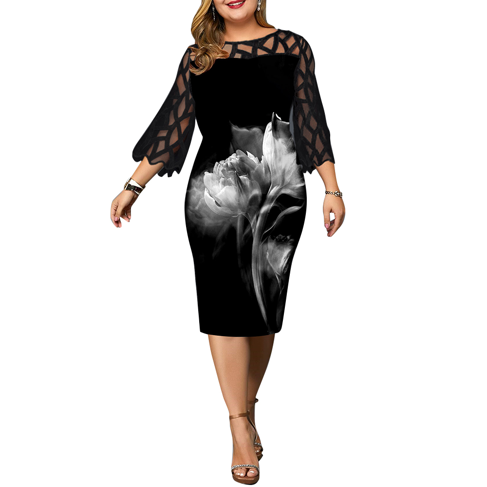 Plus Size Dress Women Elegant See Through Mid-Calf Floral Dresses Female 2020 Spring New 3/4 Sleeve Printed Party Dress D30