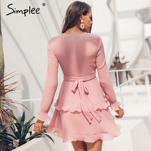 Image 2 - Simplee אלגנטי קפלים שיפון נשים שמלת קיץ 2019 ארוך שרוול v צוואר ראפלס לבן שמלות מקרית מיני שמלת vestidos