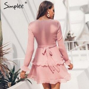Image 2 - Женское летнее плиссированное платье Simplee, элегантное шифоновое платье с длинным рукавом, повседневное белое платье с v образным вырезом и оборками на лето, 2019