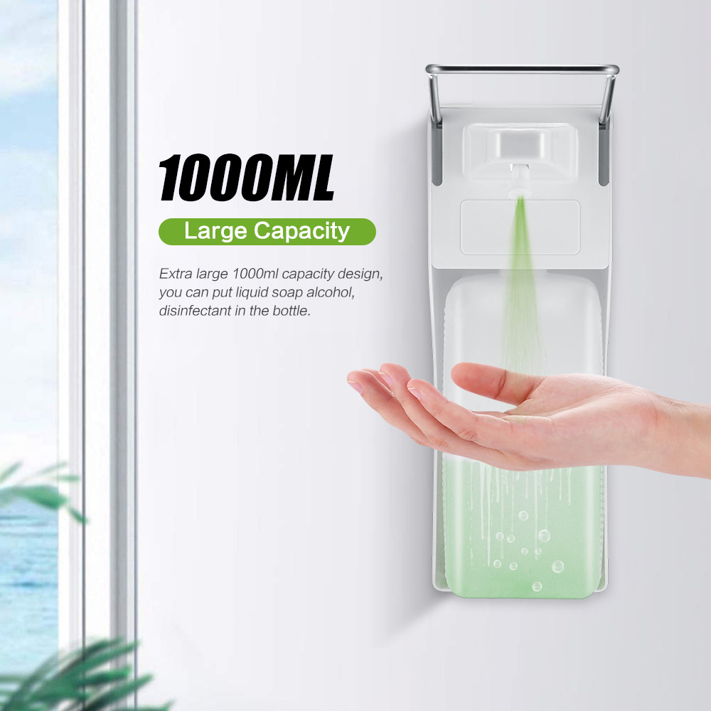 Distributeur manuel de savon en ABS  Pompe à savon à pression sur le coude, distributeur désinfectant mural pour la maison, hôpital, salle de bain, hôtel, 1000mlDistributeurs de savon liquide   -
